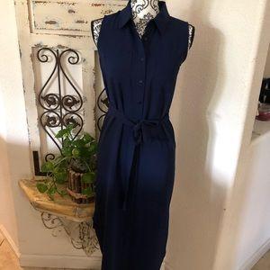 Adrienne vittadini mid-maxi tie waist shirt dress
